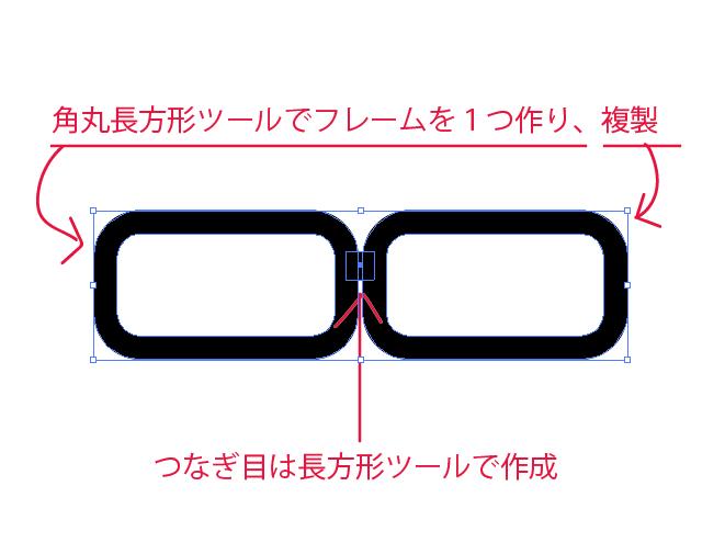 メガネイラストの作り方