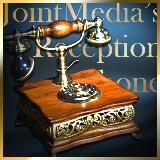 おしゃれなジョイントメディアの受付にはレトロなオシャレ電話が設置されています
