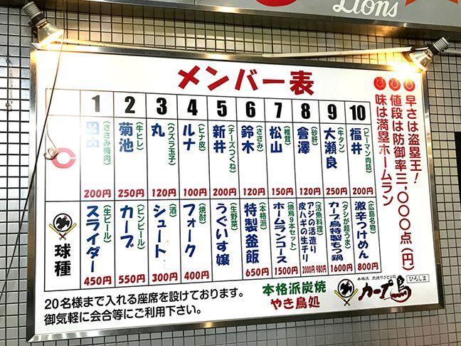 広島のお好み焼き屋ふみちゃんのおしゃれなメニュー表