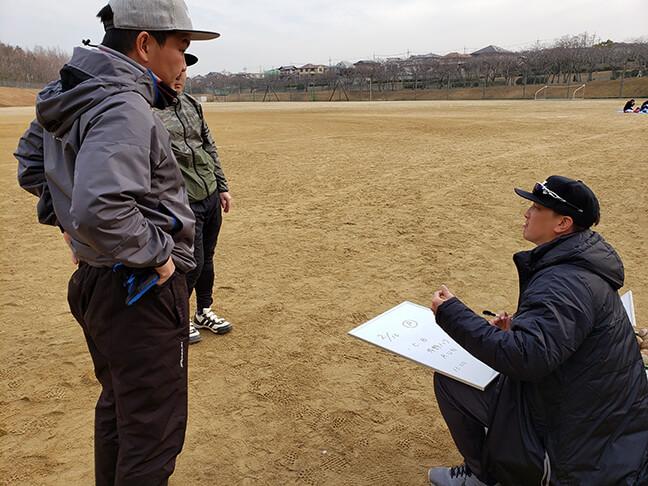 メニューの打ち合わせをする監督とコーチと代表