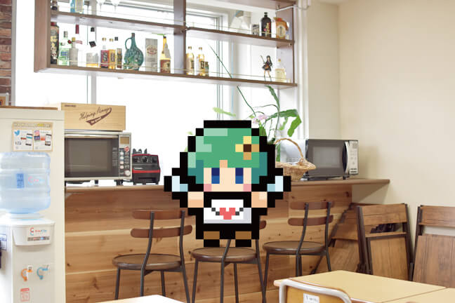 バーカウンターでお茶をするディア